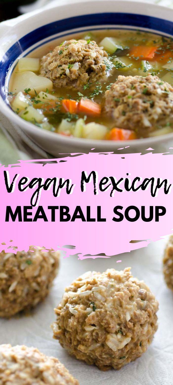 Vegan Mexican Meatball Soup (Caldo de Albondigas) vegan meatballs simmered in a tomato based broth with veggies.