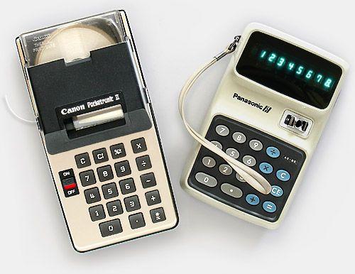 Vintage collectible calculators: Canon Pocketronic II, Panasonic 850.