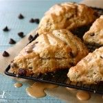 Chocolate Chip Scones with Peanut Butter Sauce. Just begging for a cup of coffee or glass of milk. yummmm