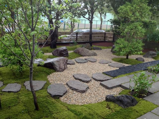モダン和風、和風庭園の施工例。札幌の福住造園がご案内。