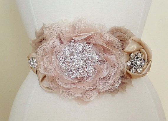 Bridal Sash - Vintage Style Champagne Flower Jeweled Bridal Wedding Belt - READY TO SHIP