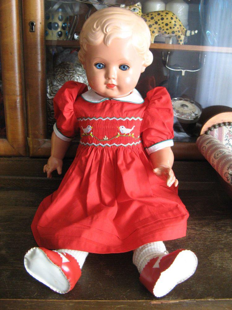 Wunderschöne alte Schildkrötpuppe Erika blond 56 cm schöne komplette ...