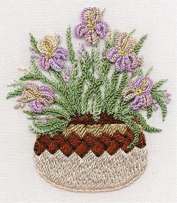 Iris in Pottery Brazilian embroidery kit #1422-EdMar threads//choose fabric color