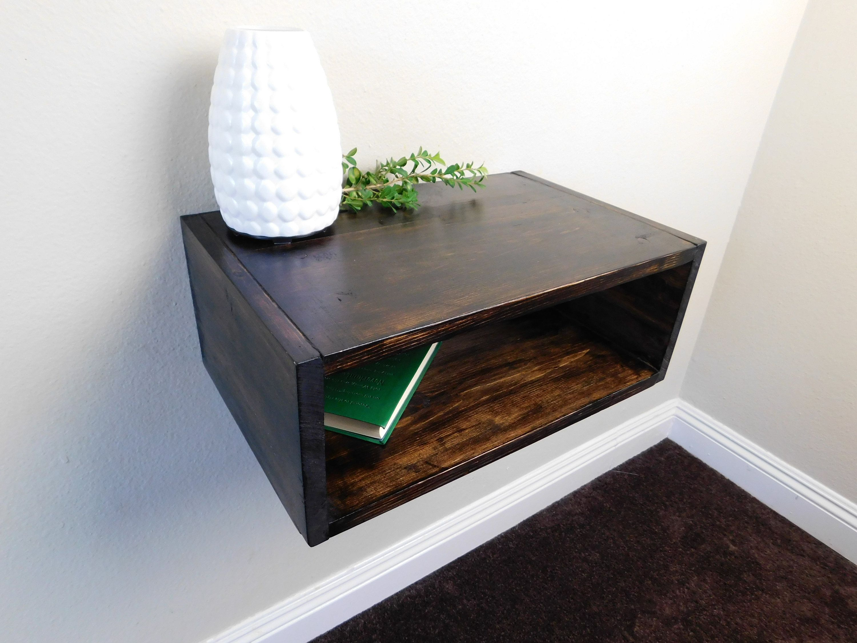 Wooden Floating Nightstand Floating Bedside Table Modern Etsy
