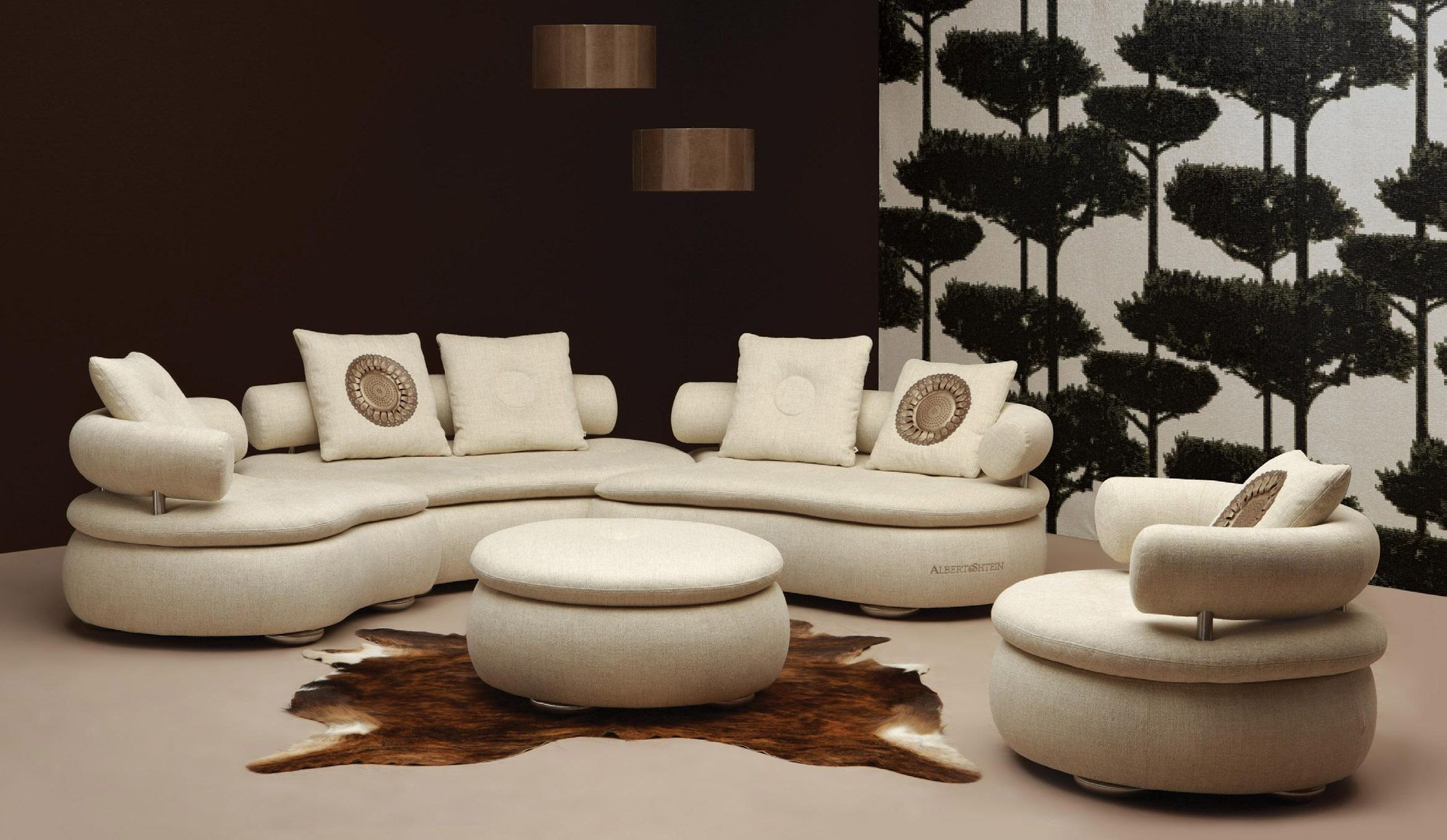 Epic Rounded Sectional Sofa Design In Beige Fabric With Adjustable Back  Rest And Beige Pillows And Round Beige Ottoman