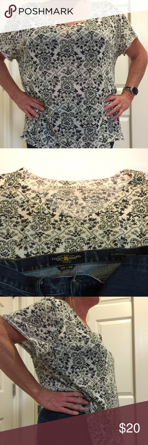 """AeropostaleXL versatile printed light summer shirt Deep navy blue, hunter green & white """"Aztec"""" print make this shirt eye catchingly different. Super light, you can throw a solid cami underneath & let it hang off one shoulder to add appeal. Pair it with anything from jeans or leggings to shorts or a mini skirt! Aeropostale Tops Blouses"""