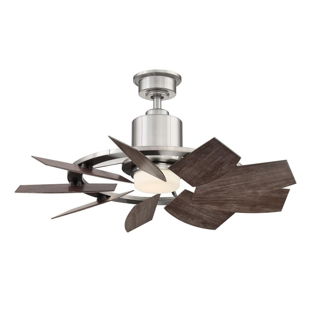 Home Decorators Collection Stonemill 36 In Led Outdoor Brushed Nickel Ceiling Fan With Light Am689 Bn The Home Depot In 2021 Ceiling Fan With Light Brushed Nickel Ceiling Fan Fan Light