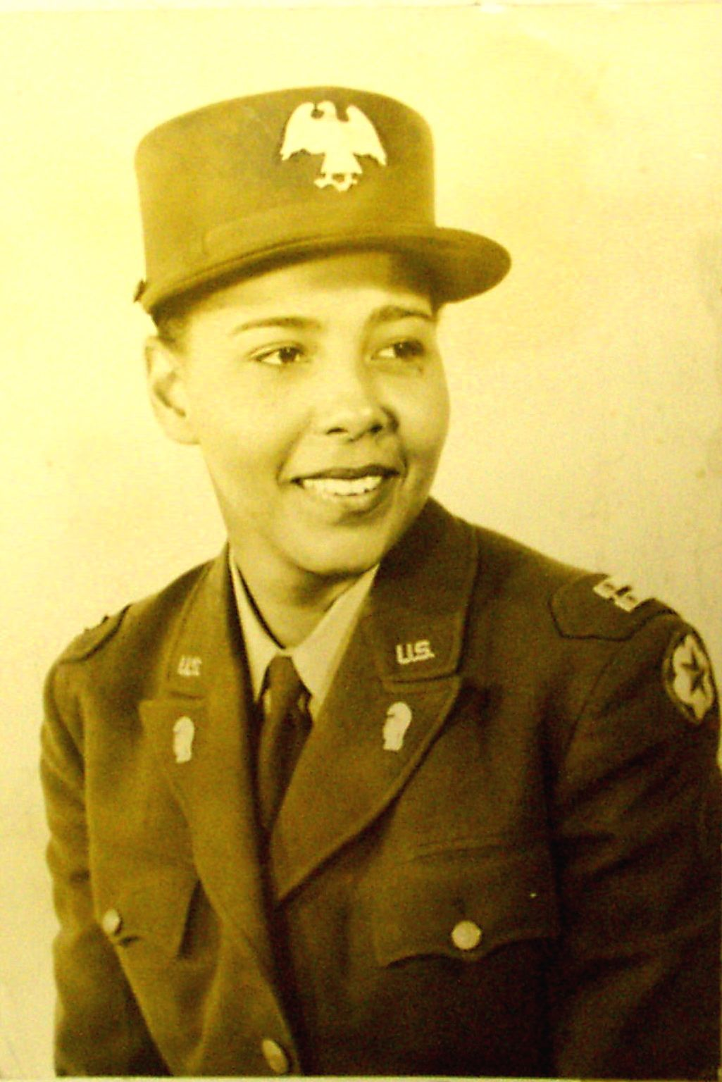 Charity Adams, the first African American commissioned officer in the Women's Army Auxiliary Corps in 1942. She served in the Army for four years and held the rank of Lt. Colonel at the time of her release from active duty.