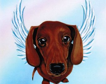 Doxie With Angel Wings Dog Breed Art Dachshund Art Whimsical