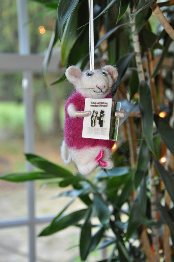 Needle Felted Mouse With Glasses Reading Doing Yoga Ornament