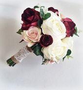 Marsala Silk wedding flowers /Bridal Wedding flowers/ Burgundy Bouquet / Bridal Bouquet /Arti...