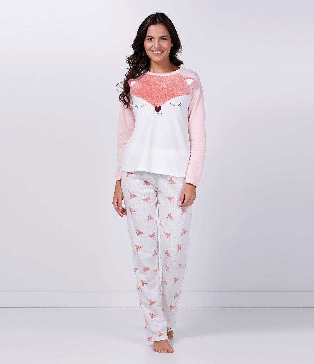 64e995f5d71e75 Pijama feminino com bichinhos Tecido Fleece ou Soft Tamanho M Renner ...