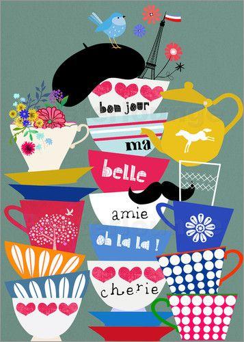premium poster franz sische tassen stay cool n drink tea. Black Bedroom Furniture Sets. Home Design Ideas