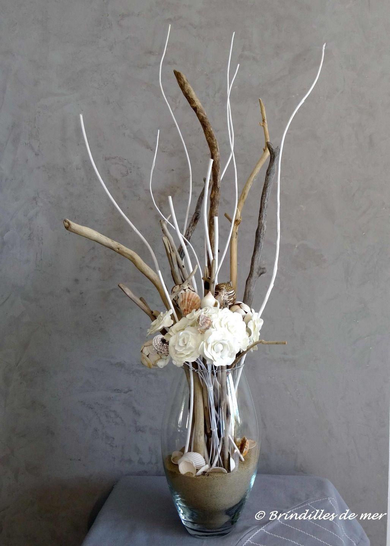 D fi du mois de mai bouquet de la mer en bois flott for Vase avec bois flotte