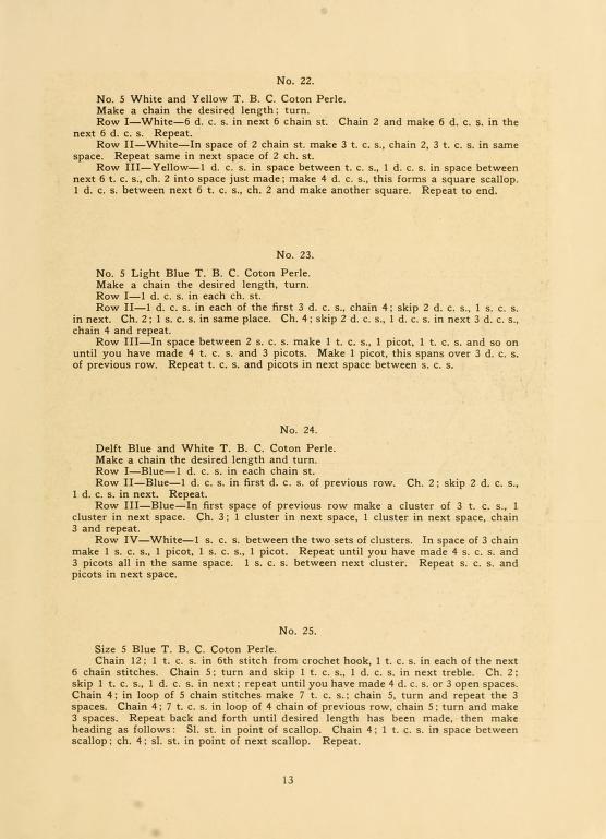 "Page 13, antique publication, c.1916 ~ ""T. B. C. Crocheted Towel Laces With Instruction"" :: 20-page booklet available online  . . . .   ღTrish W ~ http://www.pinterest.com/trishw/  . . . .   #crochet #edging"