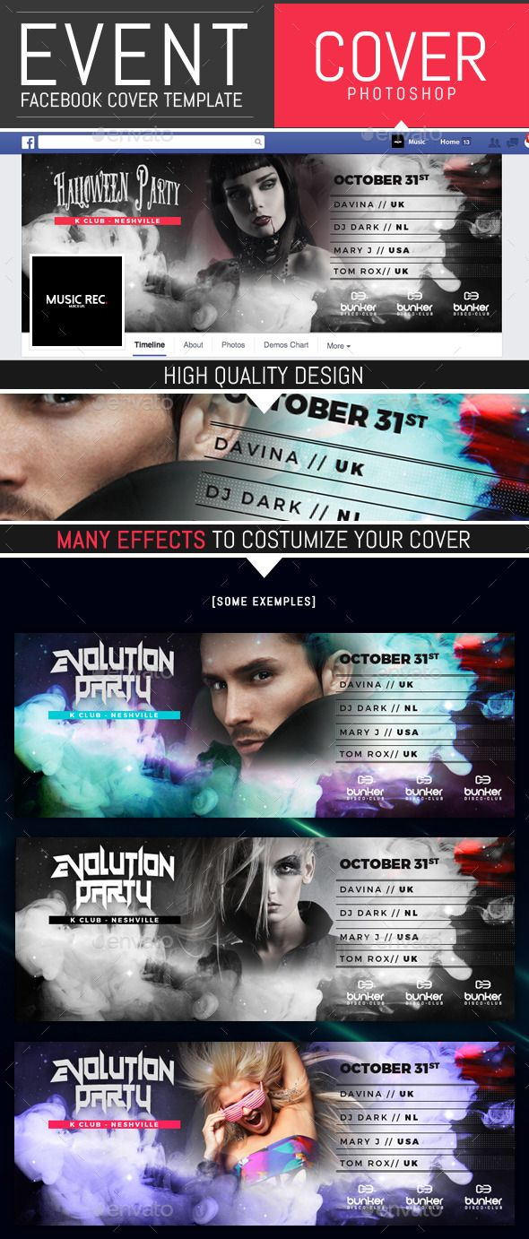 Event Party and Dj Facebook Cover Template | Facebook cover ...