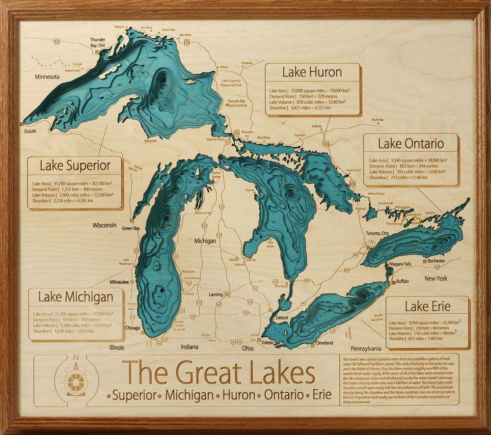 Great Lakes 3d Depth Map Grandpa Shorters Lake Art Lake Map Lake Wall Art