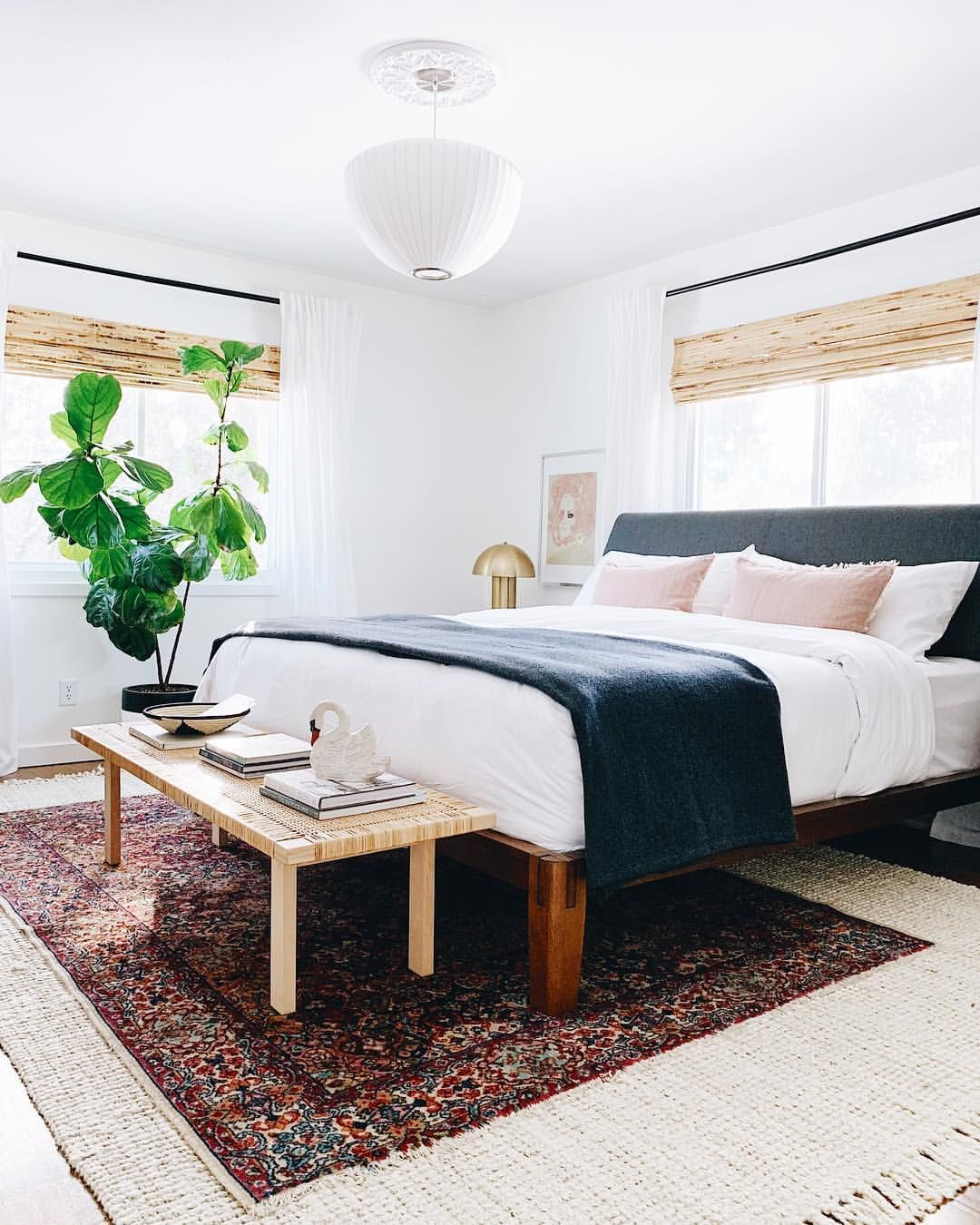 Master Bedroom With Thuma Platform Bed Layered Rugs And Nelson Pendant Undecorated Home Layered Rugs Bedroom Luxury Bedroom Inspiration Red Rug Bedroom