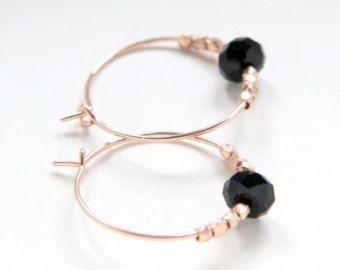 Rose Gold Hoops Elaborated With Black Swarovski Crystal
