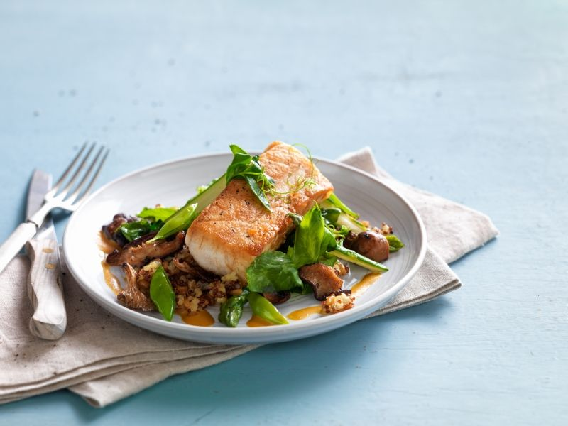The Sea Bass With A Mix Of Quinoa Mushrooms And Snap Peas True