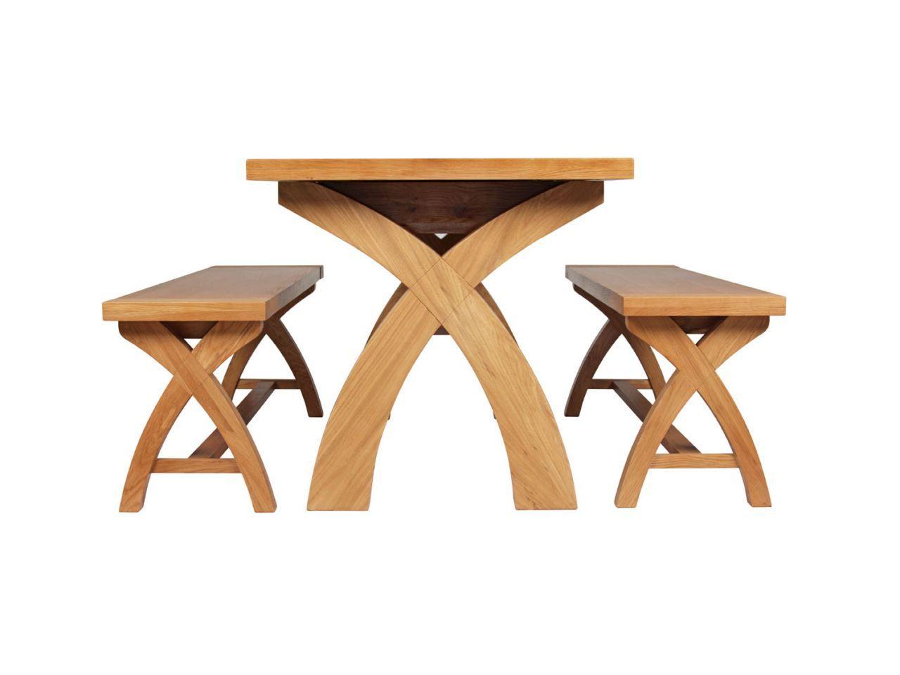 Country Oak 180cm Extending Cross Leg Table And 2 120cm Cross Leg Bench Set In 2020 Table And Bench Set Dining Table Legs Oak Furniture