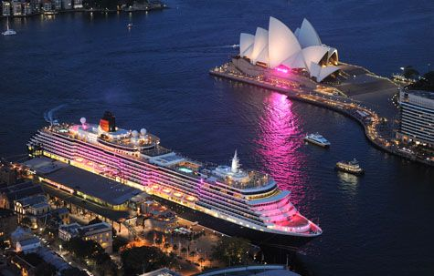3 Pink Lit Cruise Ship