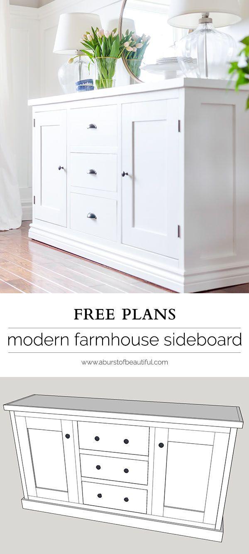 Simple Modern Farmhouse Sideboard Buffet Dining Room Tutorials Diy furniture plans, Dining