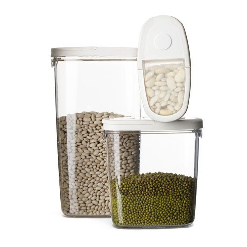 IKEA 365+ plastic food storage jars come in 10 oz, 44 oz, and 2 qt sizes to store just about anything. I love using them to keep my cereal fresh and save space in my tiny cabinets.