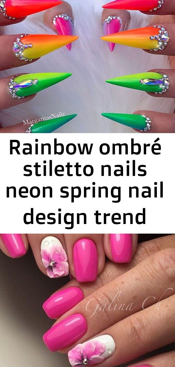 Rainbow ombré stiletto nails neon spring nail design trend multicolor unicorn s... - laura thomas - Rainbow ombré stiletto nails Neon spring nail design trend Multicolor unicorn s... - Laura Thomas - 35 Chic Pink and White Nails Designs to Try Rainbow Nails - Spa Treatments - Spa - DailyBeauty - The B... 40+ Pretty Multicolored Nail Art Designs For Spring and Summer 2019 rainbow nails, colorful nail art design, French manicure, Multicolored Nail Art Designs
