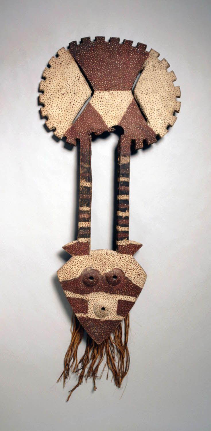 Africa | 'Bedu' mask from the Nafana people of the Ivory Coast. | Wood and pigment. ca. 1940