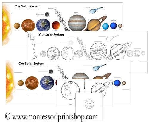 The Solar System Charts Cards Solar System Montessori Culture Montessori Materials Printable solar system worksheets