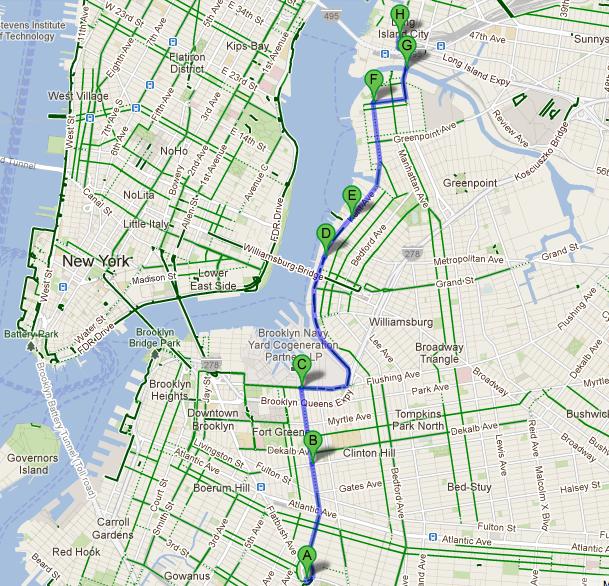 Kiva ja turvallinen pyöräilyreitti Brooklynista Queensiin