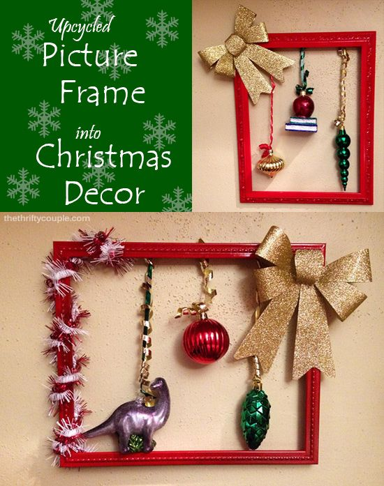 Upcycled picture frame into diy hanging christmas decor the upcycled picture frame into diy hanging christmas decor solutioingenieria Images