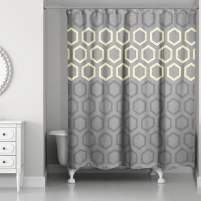 Hexagonal Shower Curtain In Yellow Grey Grey Yellow Yellow