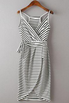 Stylish Spaghetti Strap Stripe Print Women's Dress