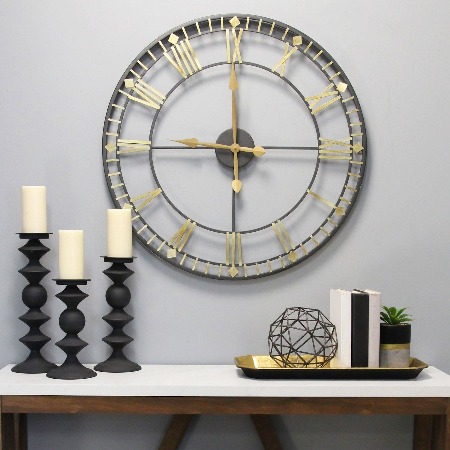 Stratton Home Decor Oversized Industrial Austin Wall Clock In 2020 Wall Clock Metal Candlesticks Clock Wall Decor