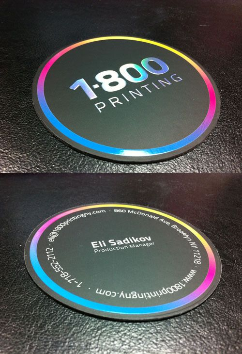 A super thick 32pt business card 35 round shape spot uv on both a super thick 32pt business card 35 round shape spot uv on both sides printed on silk laminated stock rainbow foil embossing on the 1 800 printing reheart Image collections