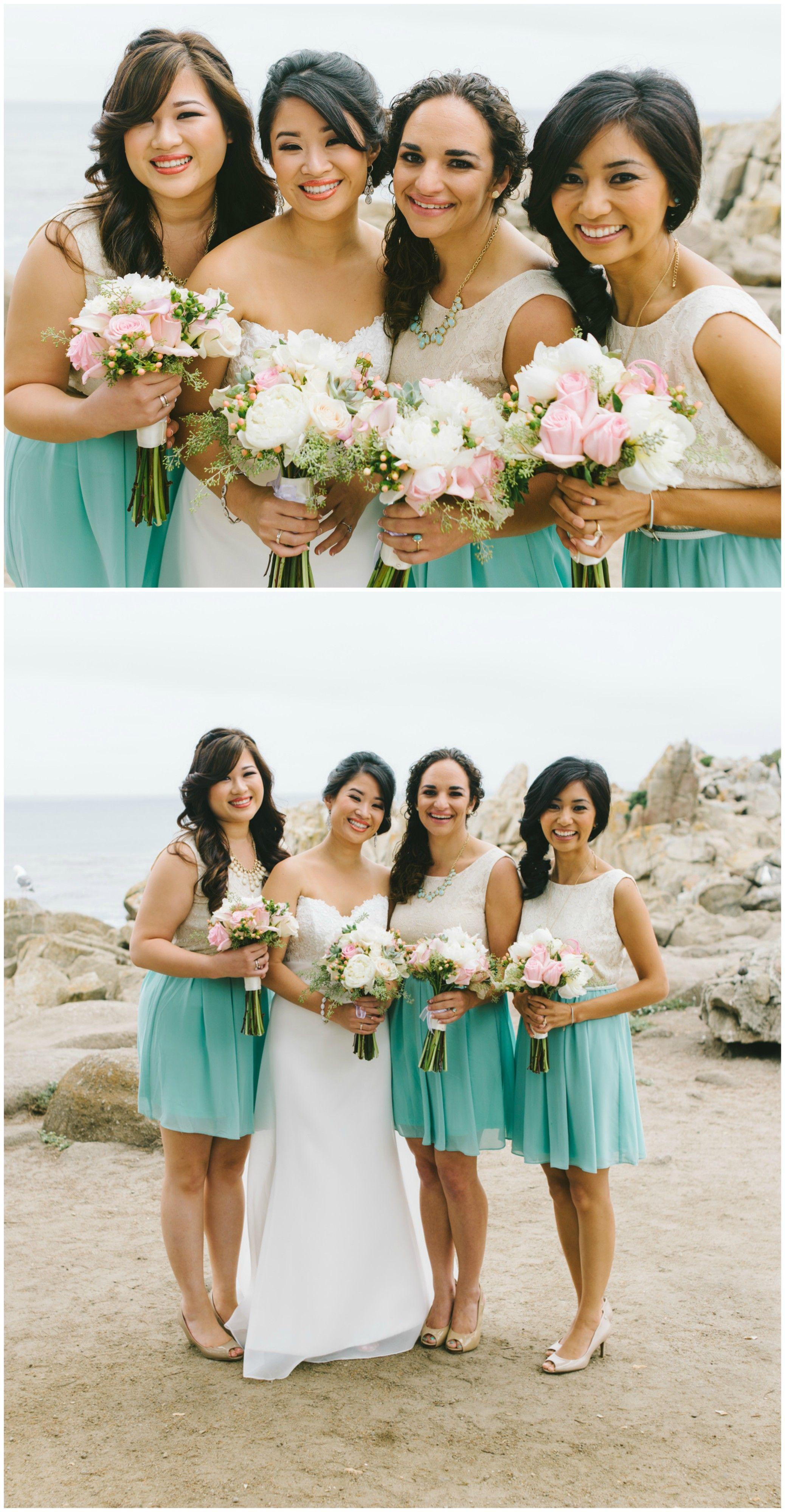 California bridal party, beach wedding, short white and