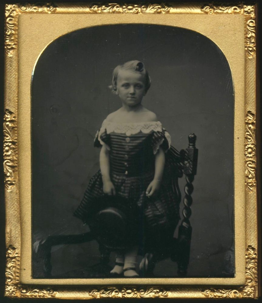 AMBROTYPE: Identified Victorian Blonde Boy GEORGE ERNEST TROUGHTON 1858 Seaforth