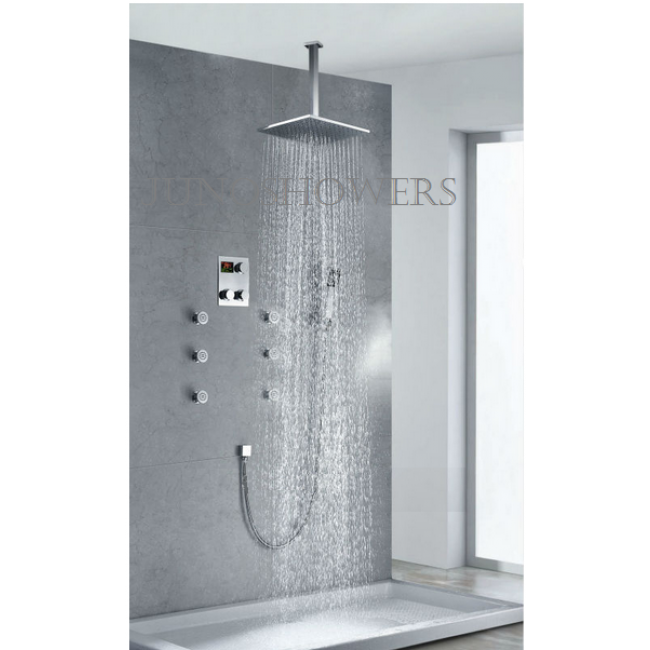 Juno Thermostatic Ceiling Mount Large Shower Head In Wall Shower