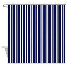 Navy Blue White Stripes Shower Curtain By Printed Little Treasures