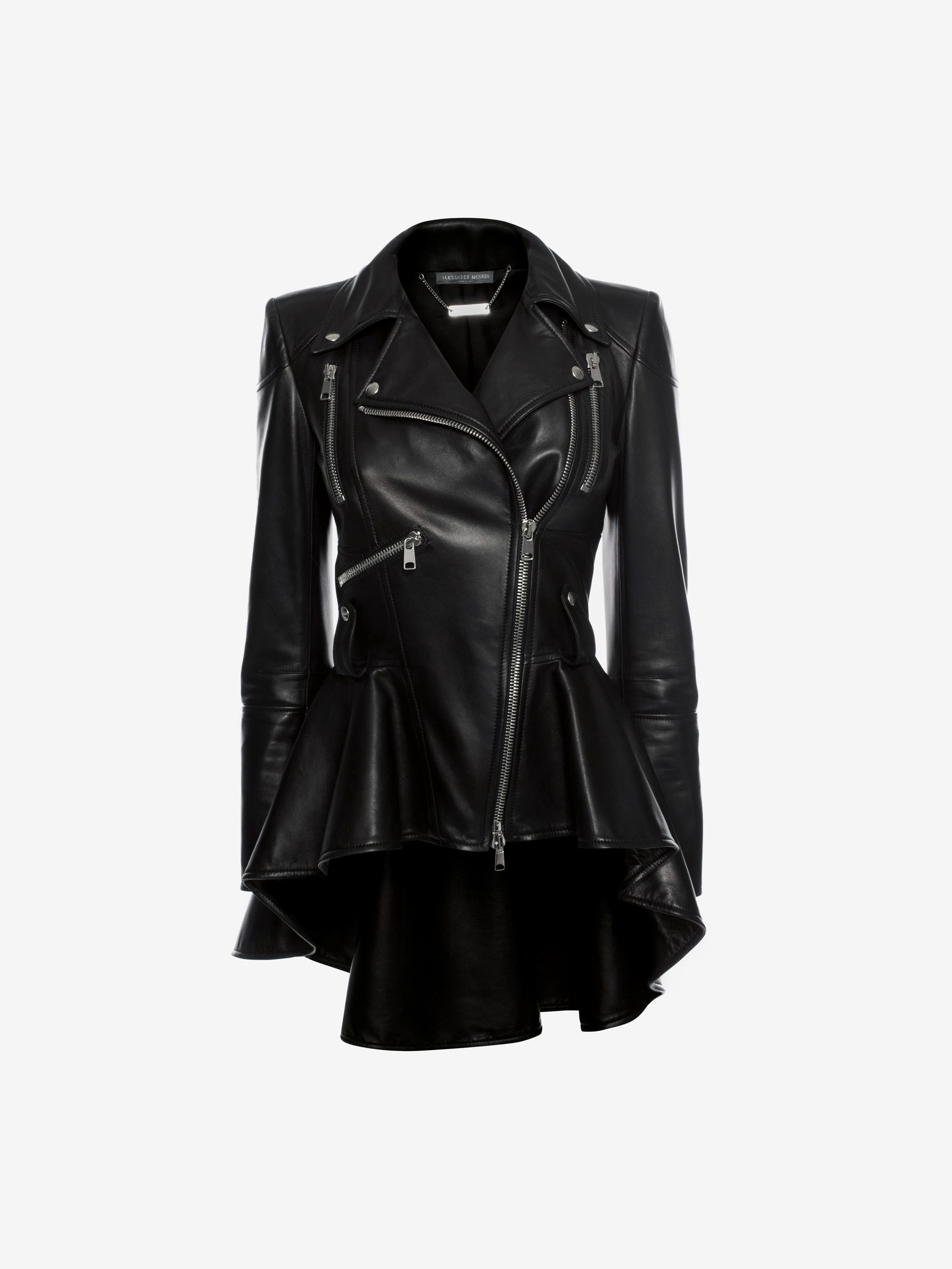 Leather Biker Jacket by Alexander McQueen   Products   Pinterest ... a2f6bf9c14f