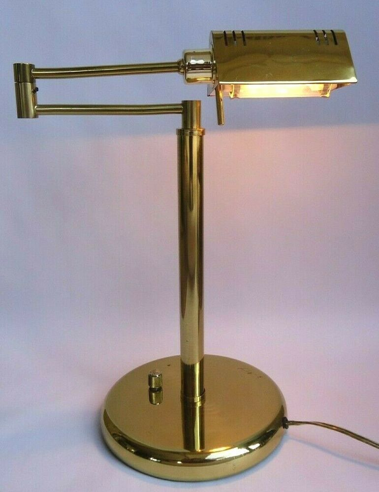 Vintage Brass Swing Arm Bankers Desk Lamp Adjustable Task Light With Dimmer 16 Desk Lamp Lamp Bankers Desk Lamp