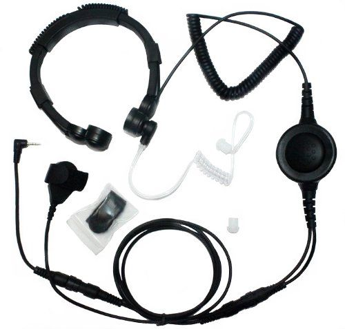 SECUDA Military Grade Tactical Throat Mic Headset//Earpiece with BIG Finger PTT for Baofeng Radios Walkie Talkie 2 Pin Jack