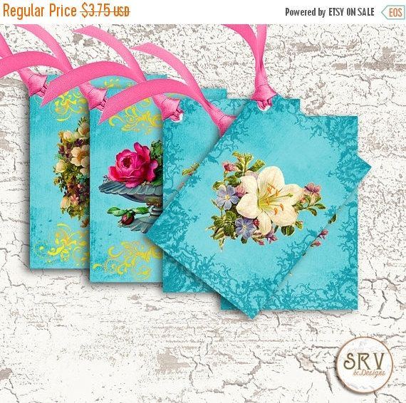 ON SALE 6 Flower Gift Tags Victorian Floral by SRVintageandDesigns