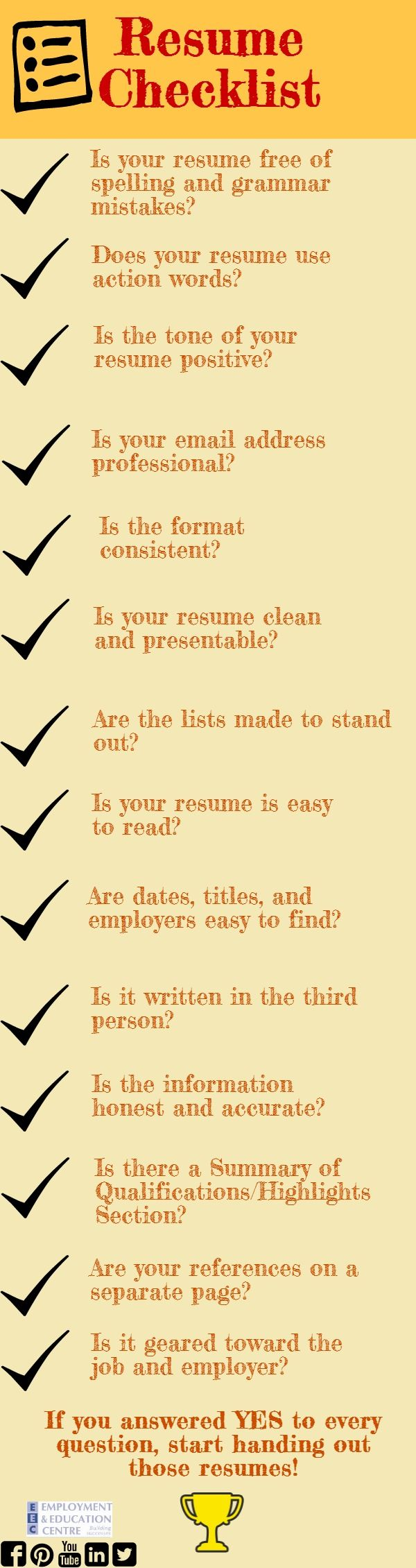 Check out this list before you hand out your resume! | Career Stuff ...