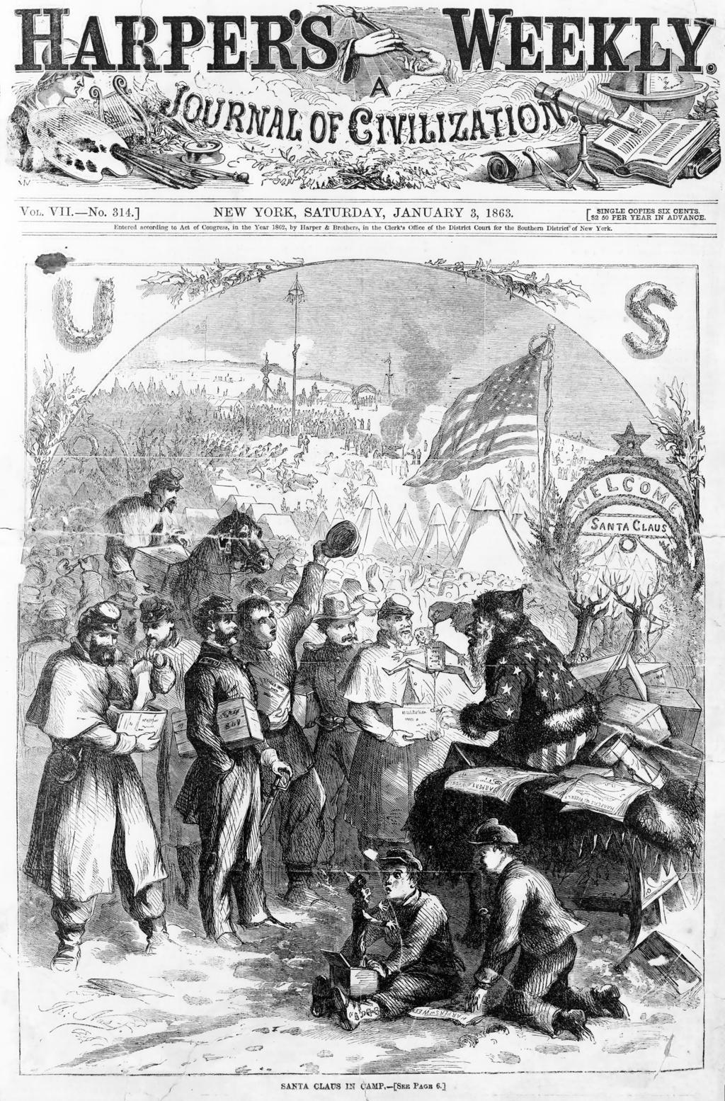 Santa Claus 1863 Harpers Thomas Nast Wikipedia Civil War History Civil War American Civil War