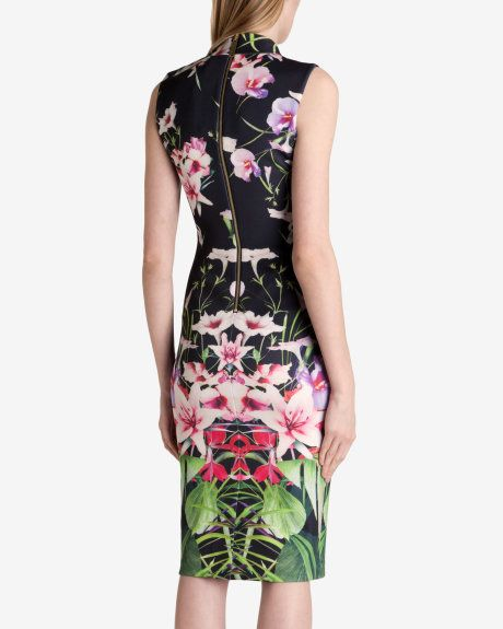 000c0513ed3 Mirrored tropics midi dress - Black | Dresses | Ted Baker ...
