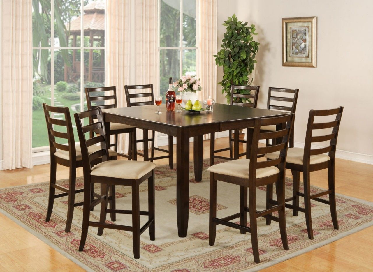 Awesome East West Furniture Fairwinds Gathering Table Dining Set With 8 Chairs