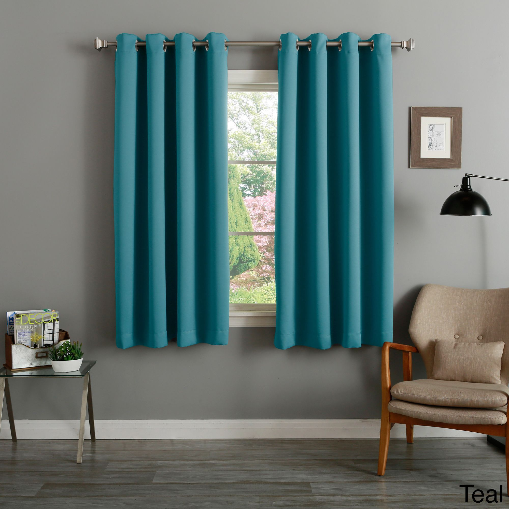 Teal Silver Curtains Aurora Home Silver Grommet Top 63 Inch Blackout Curtain Pair 52